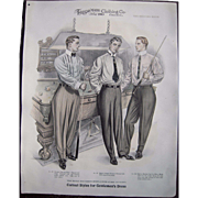 "Large 1910 Men's Fashion Print ""The Billiard Room"""