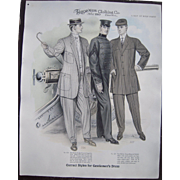 "Large 1910 Men's Fashion Print "" A Day at West Point"""