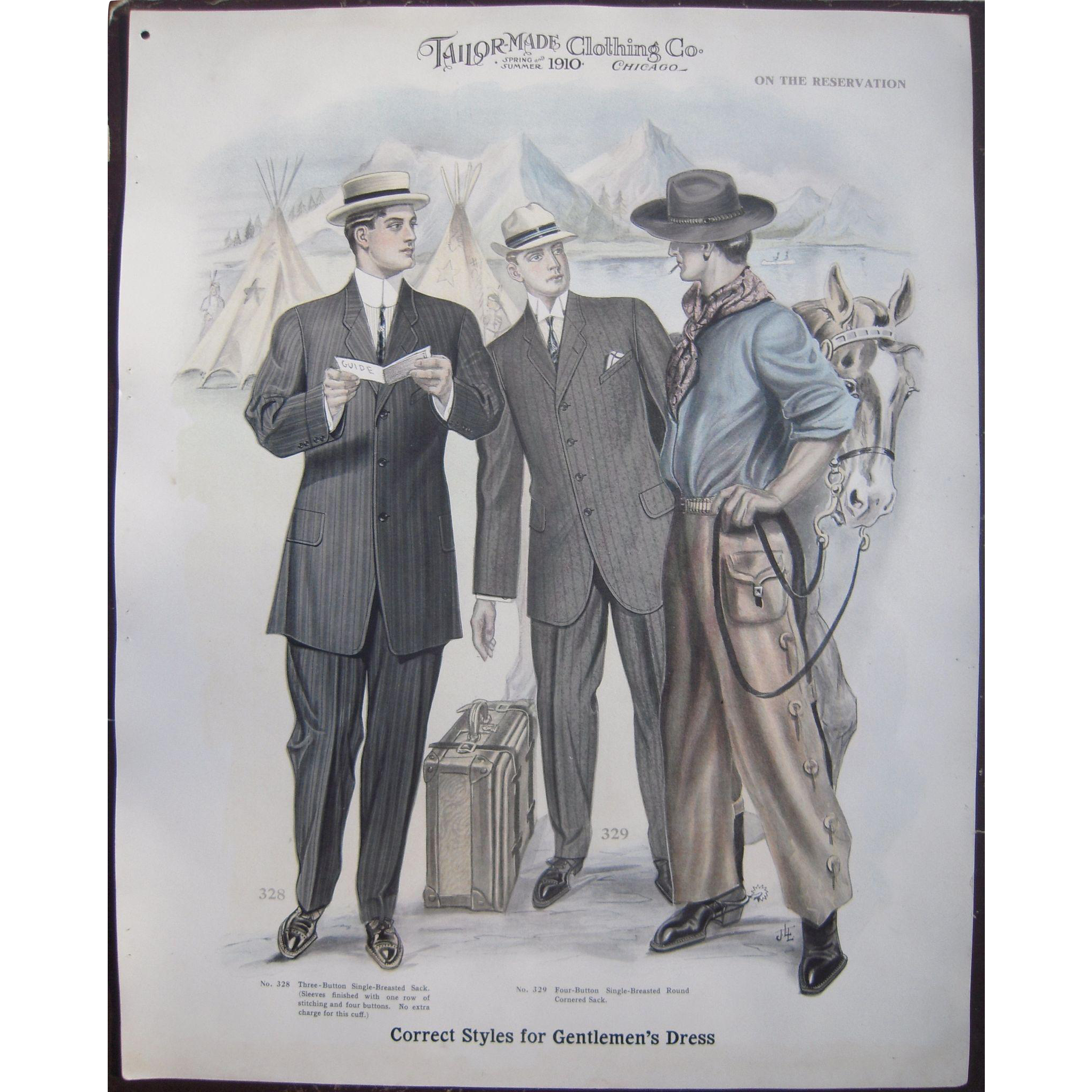 large 1910 mens fashion print quoton the reservationquot from