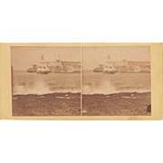 1860 Stereoview of Cuba #128 Sailboat in Havana Harbor
