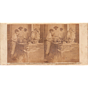 1860 Stereoview of Cuba #116 Interior of Kitchen w/Slaves
