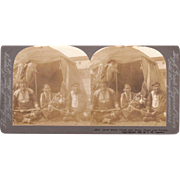 Stereoview of Chief Black Hawk and Group of Indians