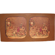 French Hand Colored Tissue Stereoview Diableries #2