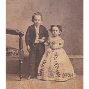 Civil War Era CDV Photo of Midgets Commodore Nutt and Minnie Warren