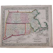1862 Hand Colored Map of Massachusetts, Connecticut and Rhode Island