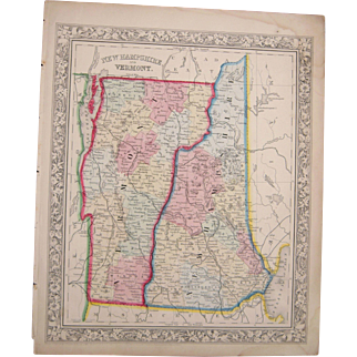 1862 Hand Colored Map of Vermont and New Hampshire