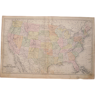 1890s Hand Colored Map of the United States