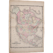 Large 1861 Hand Colored Map of North America (w/detailed US map)