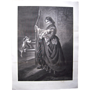 """Large 1850s/1860s Steel Plate Engraving """"Tired Out"""""""