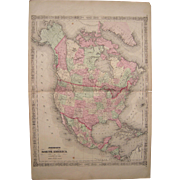 Large c1864 Hand Colored Map of North America (w/detailed US map)