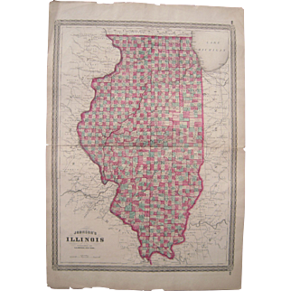 Large 1861 Hand Colored Map of Illinois