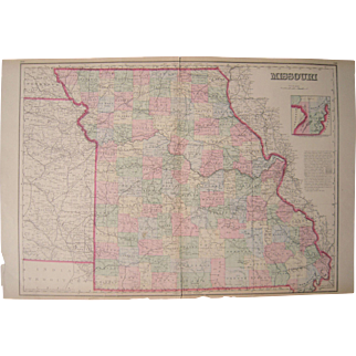 Large 1869 Hand Colored Map of Missouri
