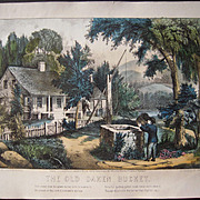 1872 Currier & Ives The Old Oaken Bucket Hand Colored Lithograph