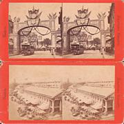 Pair 1870s Stereoviews Boston MA Street Scenes