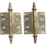 Pair Solid Brass Ornate Eastlake Style Door Hinges (9 pair available)