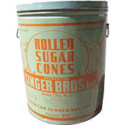 Large Vintage Rolled Sugar Cones Advertising Tin