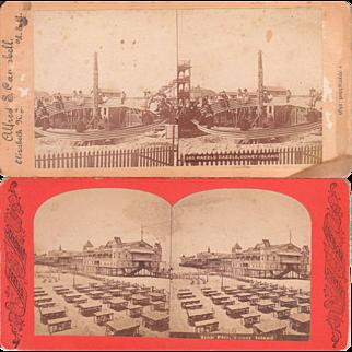 Pair Coney Island Stereoviews c1880s/1890s