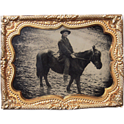 Quarter Plate Tintype Outdoor Scene Man on Horseback