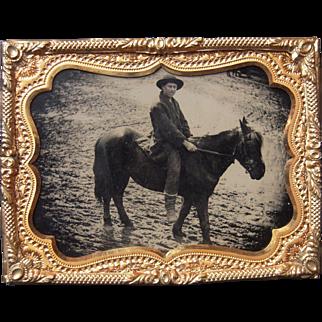 Quarter Plate Tintype Outdoor Scene Man on Horseback