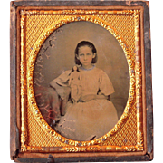 Sixth Plate Ruby Glass Ambrotype of Girl with Doll