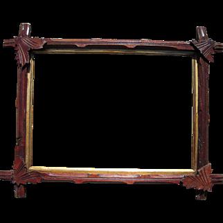 "Victorian Carved Eastlake Walnut Picture Frame w/Decorative Corner Leaves 10"" x 14"""
