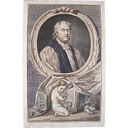 18th Century Hand Colored Engraving of John Tillotson, Arch Bishop of Canterbury
