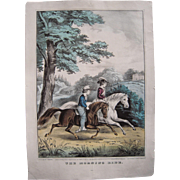 Hand Colored Currier and Ives Print The Morning Ride #2