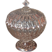 Mid 1800s Large Covered Flint Glass Compote EAPG