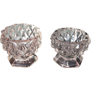 Pair Small Mid 1800s Flint Glass Compotes EAPG