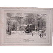 c1860s Color Lithograph of West Town Boarding School, Chester County, PA