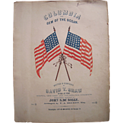 1843-1863 Sheet Music Columbia The Gem of the Ocean