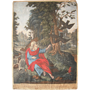 18th Century Hand Colored Print Elijah Fed by Ravens