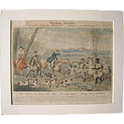 Early 1800s Hand Colored Aquatint Fox Hunting in Canada