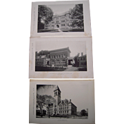 Lot of 3 1890s Photogravures of Prominent Buildings in Cambridge, MA