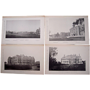 Lot of 4 1890s Photogravures of Prominent Buildings in Belmont, MA
