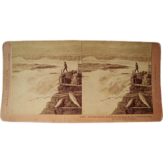 Stereoview Siwash Indians Fishing in Oregon