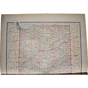 Large 1889 Hand Colored Map of Indiana