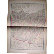 Large 1889 Hand Colored Map of Ohio
