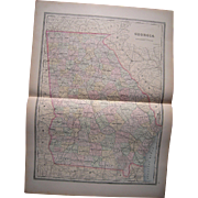 Large 1889 Hand Colored Map of Georgia
