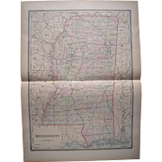 Large 1889 Hand Colored Map of Mississippi