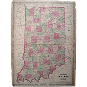 Large 1864 Hand Colored Map Of Indiana