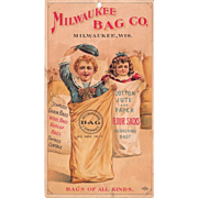 Victorian Advertising Trade Card for Milwaukee Bag Co.