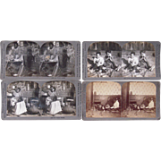 Lot of 4 Comic Black Stereoviews