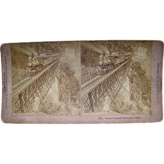 1891 Stereoview Closeup of Train on Trestle