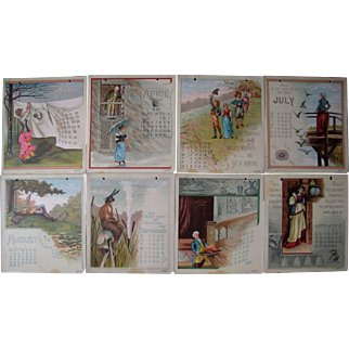 High Quality Color Lithographed 1886 Calendar
