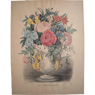 "c1930s Hand Colored Currier and Ives Reissue Print ""The Flower Vase"""