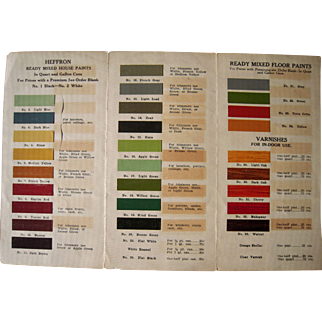 c1910s/1920s House Paint Chip Advertising Foldout from The Heffron Co. Paints of Syracuse, NY