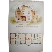 "1889 Color Lithographed Architectural Print ""A Cottage of Moderate Cost"""