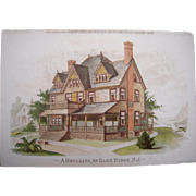"1888 Color Lithographed Architectural Print ""A Dwelling at Glen Ridge, NJ"""