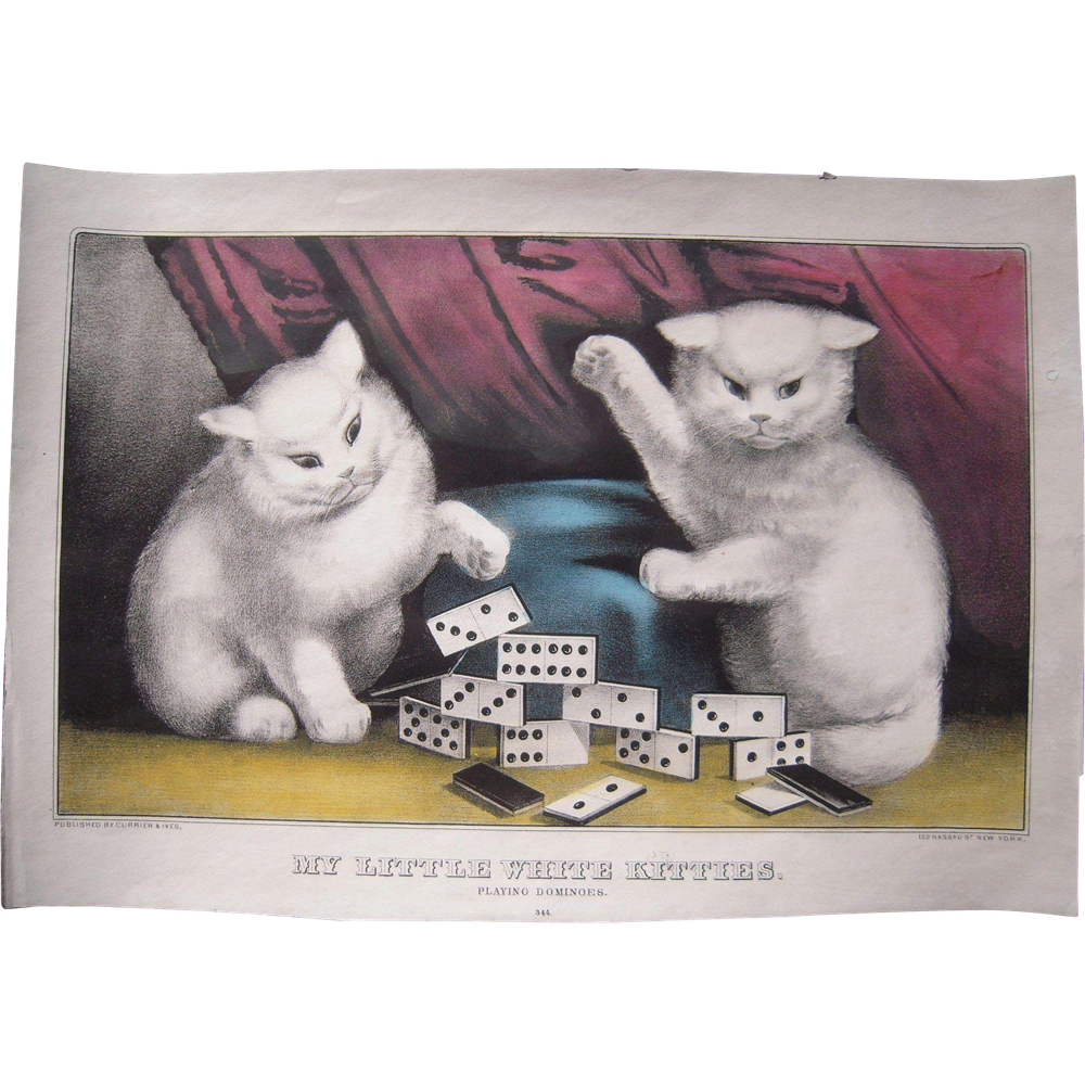 Hand Colored Currier And Ives Print My Little White Kitties Playing Dominoes 2